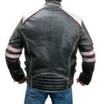Retro Style Cafe Racer Moto Biker Distressed Leather Jacket