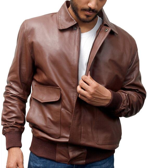 a-2 light brown leather bomber jacket flight jacket