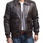 USAF A2 Flight Distressed Brown Leather Bomber Jacket