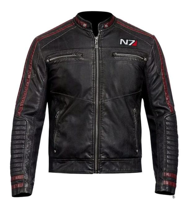 mass effect n7 black leather biker jacket mens