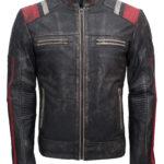 Mens Retro Cafe Racer Vintage Leather Motorcycle Jacket for Sale