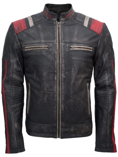 Retro Cafe Racer Vintage Leather Motorcycle Jacket for Sale Mens