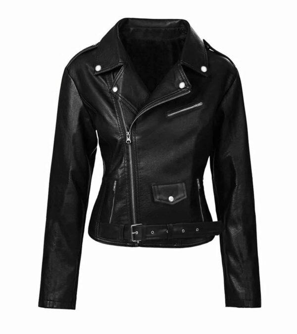 black leather motorcycle jacket womens