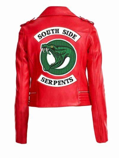 riverdale southside serpents red leather biker jacket womens uk cheap