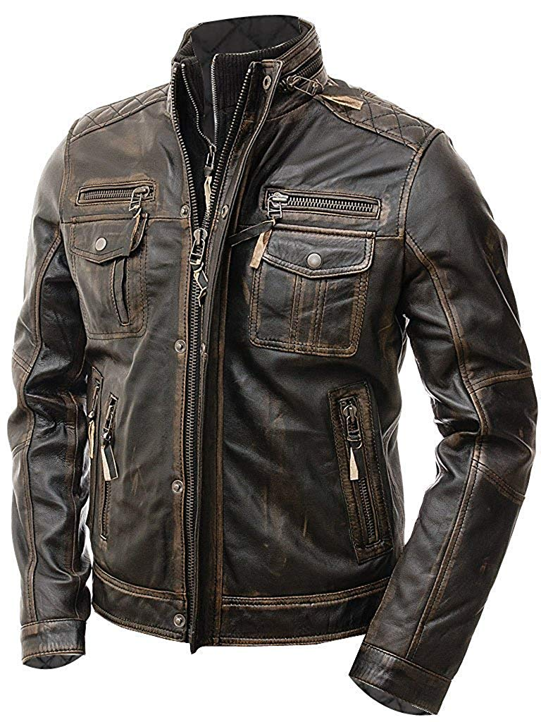 motorcycle jacket leather cafe racer brown mens distressed slim