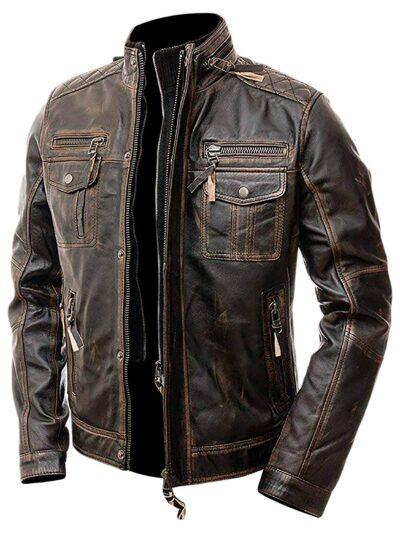 distressed brown leather motorcycle jacket mens