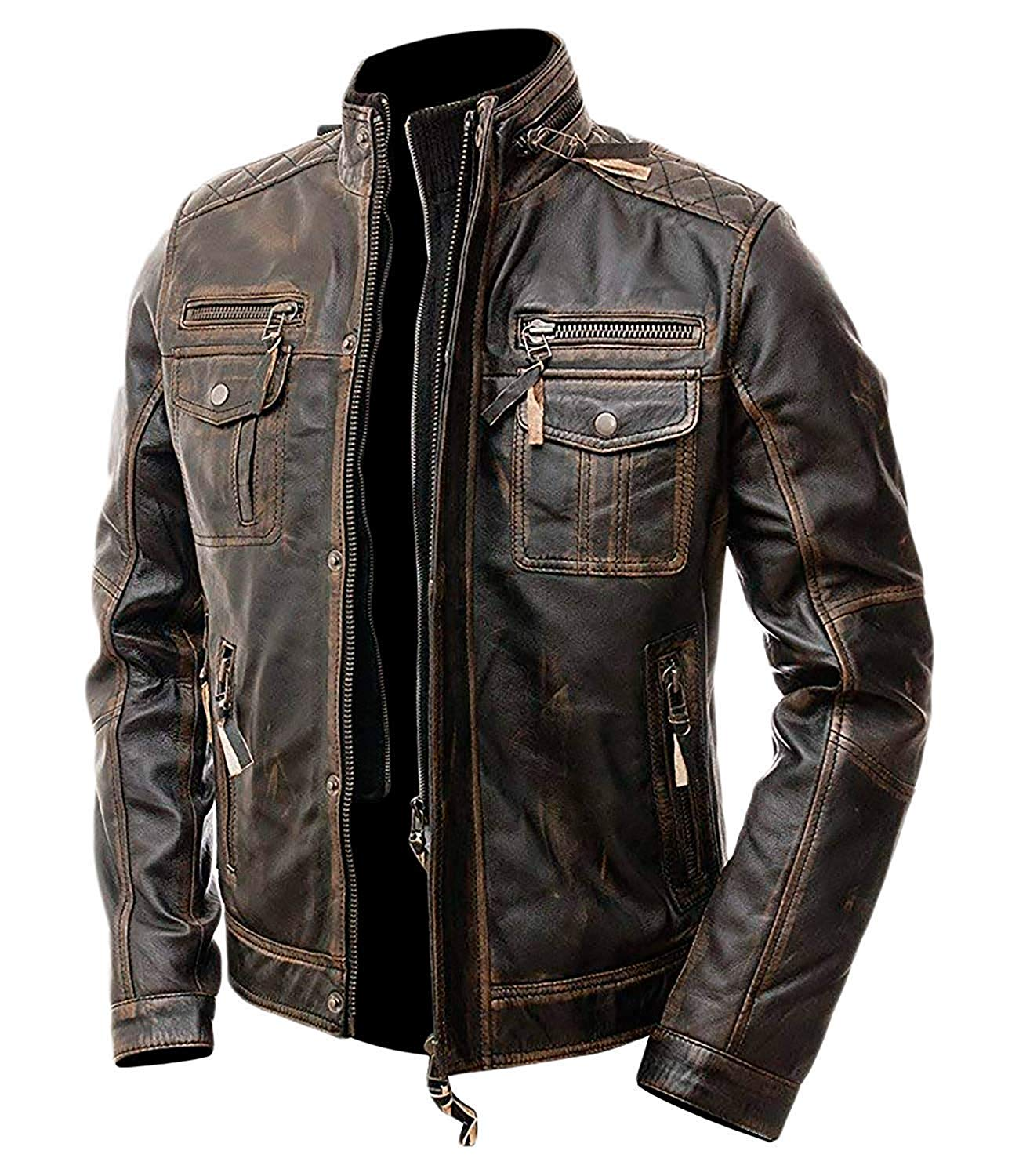 d6000af49 Cafe Racer Distressed Brown Leather Motorcycle Jacket