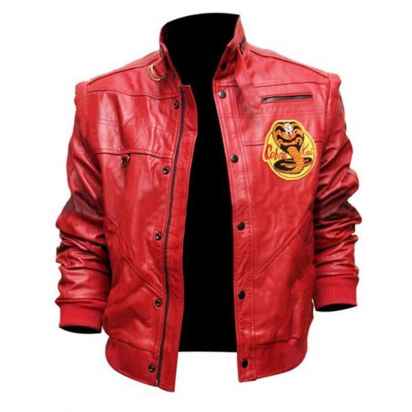 Cobra kai jacket red leather bomber jacket