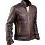 Racer Brown Distressed Leather Motorcycle Jacket Mens